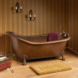 "66"" Donnelly Smooth Copper Slipper Clawfoot Tub - Tap Deck - 7"" Deck Holes - Incorporate rustic elegance in your bathroom with the addition of the 66"" Donnelly Smooth Copper Slipper Tub on Claw Feet."
