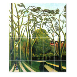 Picture-Tiles, LLC - Spring In The Valley Of Bievre Tile Mural By Jean Jacques Rousseau - * MURAL SIZE: 36x30 inch tile mural using (30) 6x6 ceramic tiles-satin finish.