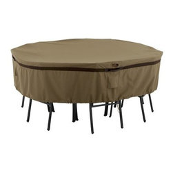 Classic Accessories Hickory Round Table and Chair Cover - Tan - Keep your entire outdoor dining set protected in style with the Classic Accessories Hickory Round Table and Chair Cover - Tan. Made durable from Weather10 material in classic tan with Weather Leather trim that resists the elements and looks authentic. Large air vents prevent mold and mildew and wind lofting. Click-close straps secure your cover on windy days and an adjustable elastic hem cord ensures a customized fit. Padded handles ensure easy removal. Not designed to entirely cover the furniture leg bottoms. Limited lifetime warranty. Size Options: Small: Covers table and chair sets up to: 60W x 23H in.Medium: Covers table and chair sets up to: 70W x 23H in.Large: Covers table and chair sets up to: 94W x 23H in.About Classic AccessoriesFounded from small beginnings, Classic Accessories has grown in the past 30 years from a small basement operation in Seattle's Roosevelt neighborhood making seatbelt pads and steering wheel covers, to a successful and expanding company now making a wide variety of products from car to boat covers and much more. Innovative, stylish designs define products that are functional and made to last. From little details to the largest innovations, Classic Accessories is always moving forward and looking to provide cover and storage solutions to a clientele that has a passion for the outdoors, from backyard gatherings to exciting camping trips, Classic Accessories provides the products that keeps your equipment looking great all season long.
