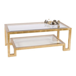 Worlds Away - Worlds Away Two Tier Gold Leaf Coffee Table WINSTON G - Gold leaf two tier coffee table with clear beveled glass.