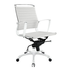 East End Imports - Tempo Mid Back Office Chair in White - Skip to a beat that your life's ambitions deserve. Tempo is a supercharged modern office chair that comes outfitted with all the amenities of its more stolid counterparts. The polished chrome-plated aluminum armrests portray a spirit on the rise, even as your arms find themselves properly positioned for the tasks at hand. The ribbed vinyl back and seat pattern help evenly disperse your body's weight, while instilling a look that imbues momentum and a love for life. Tempo comes equipped with a tension control knob and tilt lock to further personalize the chair, while the pneumatic chair lever easily adjusts the chairs height. The 360 degree swivel will also keep your inner kid entertained at all times as well. Additionally, the hooded aluminum base comes equipped with five dual-wheeled casters for easy gliding over carpeted surfaces. Whether you are looking to buy one for yourself, or one-hundred for your office, Tempo is a chair that enhances productivity in the most natural ways possible.