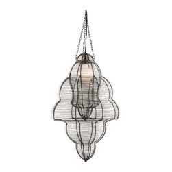 Arteriors - Edom Pendant - A cage within a cage, this single bulb pendant will create endless patterns of light in your home. The matte black steel wire casts a show of shadows and immense visual interest. This unique look would add eclectic charm to any room.