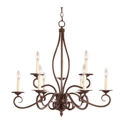 Savoy House Lighting - Savoy House Lighting KP-99-9-91 Bryce 9 Light Chandeliers in Sunset Bronze - The Bryce collection delights in a Sunset Bronze finish with detailed iron leaf ornamentation on the wall sconces. The soft curls create that clean classic look you are looking for your home.