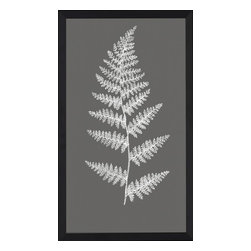 Wendover Art - Charcoal Fern Print - This striking Giclee on Paper print adds subtle style to any space. A beautifully framed piece of art has a huge impact on a room for relatively low cost! Many designers and home owners select art first and plan decor around it or you can add artwork to your space as a finishing touch. This spectacular print really draws your eye and can create a focal point over a piece of furniture or above a mantel. Each unique art piece is printed & manufactured in the USA. Please allow 4 weeks for delivery as each piece is printed to order & requires careful handling. In a large room or on a large wall, combine multiple works of art to in the same style or color range to create a cohesive and stylish space!