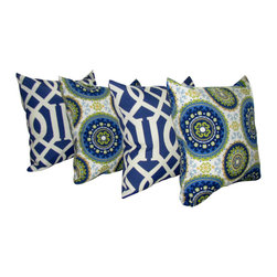 Land of Pillows - Richloom Kirkwood Admiral Navy and Bindis Summer Outdoor Throw Pillow - Give your sofa, day bed, or patio lounge a boost of stately style with these navy and white throw pillows. This set of four stylish pillows includes two with a chic geometric design, and two with an enchanting bright mandala pattern. Crafted from high quality fabric that is stain, water and fade resistant, these square pillows work great indoors or out!