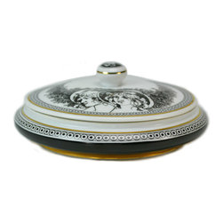 Lavish Shoestring - Consigned Black & White Porcelain Small Dressing Table Box & Lid, by Hollohaza - This is a vintage one-of-a-kind item.