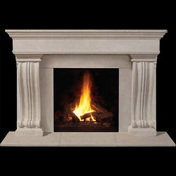 Nottingham Stone Fireplace Mantel - Available in standard and custom sizes, the Nottingham stone mantel is a sleek and sophisticated living room piece. Choose from your favorite stone color to add a touch of class to your home.