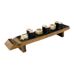 Alpine Wine Design - Sushi Board - Here's a tasty way to stave off hunger and entertaining ennui at the same time. Handmade from half a reclaimed wine barrel stave, this stylish platter holds sushi or other finger foods — or top it with a few votive candles. It's elevated on two more pieces of reclaimed wood and finished with food-safe oil.
