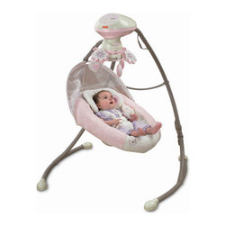 Fisher-Price - My Little Sweetie Deluxe Cradle Swing - Features: -Choose from 2 different swinging motions - side to side or head to toe, whatever baby likes best.-Easy to convert from one to the other.-Six swing speeds offer baby variety.-16 Songs and 2 nature sounds to soothe or entertain.-Motorized mobile spins and so do the flowers which fosters sensory skills for baby.-Choose just swinging or any combination of swinging, music and mobile for baby's soothing.-Plug in option that saves on batteries. The seat pad and infant support is machine washable.-Legs on the sturdy steel frame fold in for storage and portability.-Use from birth until child becomes active and may be able to climb out of the product.-Collection: My Little Sweetie.-Product Type: Swing.-Distressed: No.-Non Toxic: Yes.-Lifestage: Baby.-Foldable: Yes -Travel Bag: No..-Musical: Yes.-Power Swinging: Yes -Swing Speeds: 6..-Battery Operated: Yes -Battery Type: D.-Batteries Included: No..-Lights: Yes.-Toys Included: Yes.-Snack Tray: No.-Lightweight: Yes.-Canopy: No.-Harness: No.-Adjustable Seat: Yes.-Removable Seat: Yes -Machine Washable : Yes..-Padded Seat: Yes.-Wheels: No.-Outdoor Use: No.-Weight Capacity: 25.-Swatch Available: No.-Commercial Use: No.-Recycled Content: No.-Eco-Friendly: No.Specifications: -Requires 4D (LR20 Alkaline) 1,5V.Dimensions: -Overall Height - Top to Bottom: 41.-Overall Width - Side to Side: 28.-Overall Depth - Front to Back: 44.-Overall Product Weight: 15.Assembly: -Assembly Required: Yes.-Additional Parts Required: No.