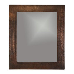 Premier Copper Products - 36 in. Hand Hammered Rectangle Copper Mirror - Configuration: Rectangle. Design: Hammered Copper Surface. Color: Oil Rubbed Bronze. Inner Dimension 28 in. x 23 in. x 1 in.. Outer Dimension: 36 in. x 31 in. x 1 in.. Installation Type: Wall Mount / Horizontal or Vertical. Material Gauge: Industry Best (18 Gauge Wrapped Around MDF Plywood). Hand Made. Mirror: Included. 100% Recyclable. Composition: 99.7% Pure Recycled Copper. Lead Free (