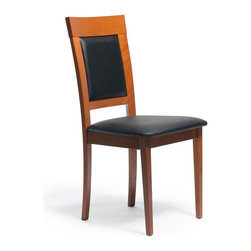 Aeon Furniture - Newport Dining Chair in Warm Cherry with Blac - Set of 2. Stylishly Designed Solid Beech Wood Dining Chairs in a Warm Cherry Finish with a Black Leatherette Fire Resistant Padded Foam Seat and Back. CARB Rated. Assembly Required. Seat Height: 18 in.. 20 in. L x 18 in. W x 37.25 in. H (12.75 lbs.)Stylishly designed with functionality and comfort in mind, this solid beech wood chair is simple yet elegant.  Its padded back and seat comfortably encourages guests to linger for quality time with family and friends.
