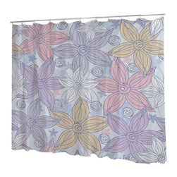 Uneekee - Uneekee Dancing Flowers Shower Curtain - Your shower will start singing to you and thanking you for such a glorious burst of design as you start your day!  Full printing on the front and white on the back.  Buttonhole openings for shower rings.