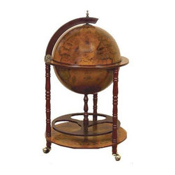 ecWorld - Antique Reproduction 16th-Century Italian Old World Globe Bar - This Italian-Style Old World Globe-Style Bar depicts the natural world upon a deep wood background - inside the globe holds art paintings of Sixteenth Century Renaissance Gothic Greek maps and figures with remarkable detail!