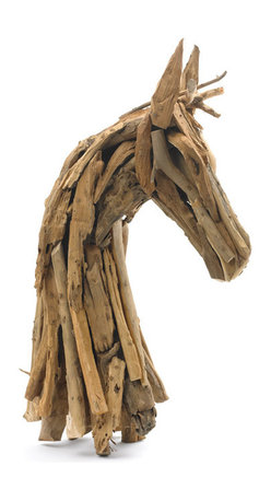 Rustic Wood Horse Head - Rustic Wood Horse Head is equestrian inspired piece brings rustic charm to your home or office decor. This horse head is a truly unique object. Made of drift wood and handcrafted, each horse size will vary greatly as it is a natural product.