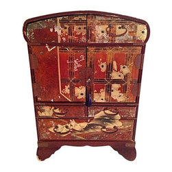 Antique Japanese Jewelry Cabinet - This is an early 20th Century Japanese jewelry chest. It has 2 drawers on top, 2 small and one large drawer on the bottom and when opened, has 6 more drawers inside. It is made of wood and has a rich red lacquer on the outside with painted decorations. When the two doors open the black lacquered interior is also hand painted in designs from nature.  There is expected wear to the exterior of this vintage piece. However, the interior looks like new. The interior of each drawer is also done in black lacquer. There is one handle missing on the top left drawer. The metal hardware is also richly decorated throughout. The back of the piece has no decoration other than the red lacquer. The key works to lock the front of the cabinet. This lovely chest was acquired from a San Francisco estate.