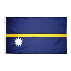 Flagline - Nauru - 2'X3' Nylon Flag - If you are a serious flag collector or if you plan on displaying your flag outdoors, you should consider our line of Nylon flags. Our Nylon flags are made of 100% Perma-Nyl Nylon, finished with canvas headings and brass grommets, primarily for outdoor use. Nylon flags are heavier than Polyester and stand up well to sun exposure. A Nylon flag provides a longer life of service and enjoyment.