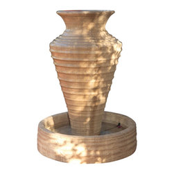 Olive Jar Outdoor Fountain - Large, Sierra - The Olive Jar Collection is one of the best sellers due to its beautiful ripple design. The trick to have the ripple effect look so clean is to have river rock surrounded on top of the fountain.