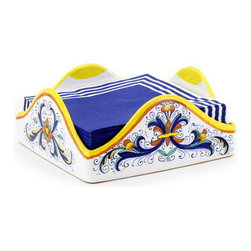 Artistica - Hand Made in Italy - Ricco Deruta: Square Napkins Holder Large - Ricco Deruta: This product is part of the renown Ricco Deruta Collection.
