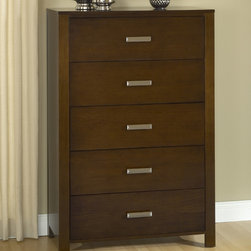Domusindo - Modern Chocolate Brown 5-drawer Chest - This five-drawer chest features a modern design with large block posts,smooth side panels and bold,decorative hardware. Chocolate brown finish showcases distinctive Basswood veneer grain pattern.