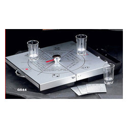Bey-Berk - Aluminum Drinking Game with Shot Glasses - Place your bets and take your chance-no matter what number the ball lands on, everyone wins with this fun and entertaining drinking set. Purely traditional, players and collectors will love the look, feel and quality of this ultra premium high quality drinking set. Its heavy duty aluminum case with built in drawer and fine drinking glasses makes this set a practical and useful piece to behold and display. *Set includes: 6 shot glasses and aluminum case *Ideal for traveling and entertaining