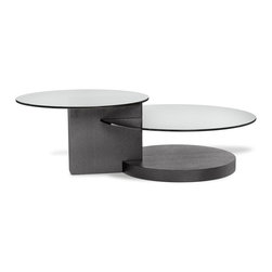 Zuri Furniture - Dakota Black Coffee Table with Glass Shelving - A combination of glass and wood finishes add interest to this cocktail table. Two tiers of glass provide ample space while still looking extra chic. Dakota has geometric appeal.