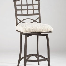 """Chintaly - Anita Wrought Iron Memory Return Swivel Bar Stool in Beige - Features: -Anita collection. -Textured brown finish. -Frame construction: Wrought iron. -Beige fabric. -Assembly required. -Manufacturer provides six months warranty for manufacturer defects reported within 7 days of receipt of merchandise. -Dimensions: 45"""" Height x 20"""" Width x 20"""" Depth."""