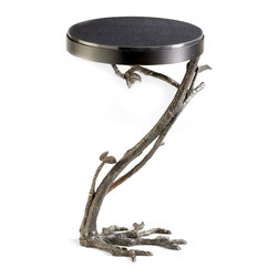 """Kathy Kuo Home - Marcellea Faux Bois Tree Root Sculpted Side Table - A pervasive, slightly surrealist attitude and lifelike wood effect makes this faux bois side table a truly unique piece.  """"Roots"""" that resemble ostrich feet and exquisite branch detailing support a black marble top. Slightly urbane yet definitely country-friendly, it would also be a fantastic addition to a modern city apartment, perhaps placed under a Salvador Dali print."""