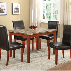 None - Faux Marble-top Walnut Dining Table - Bring a modern touch to your dining room with the stylish look of this dining table. The straight wooden frame is finished in rich walnut with a complementary faux- marble top for a refined look.