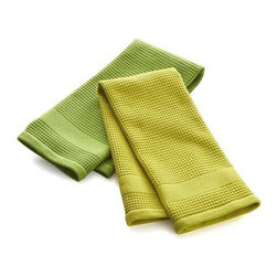 Set of 2 Waffle-Terry Green Dishtowels - Thirsty, textural towels in dark and light green are waffle on one side, terry on the other, each with handy hanging loop. The waffle face can be used for lint-free drying of delicate glassware lint free, the absorbent terry side for drying everything else.