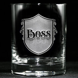 "Crystal Imagery, Inc. - Boss Whiskey, Scotch, Bourbon Rocks Glass Set of 4 - Engraved Boss whiskey glass is a unique gift for your boss or humorous gift for the man who commands respect and authority. Perfect retirement, birthday, father's day gift. Deeply carved using our sand carving technique, each whiskey, scotch, bourbon glass is meticulously custom made to order making it the perfect gift for those seeking unique gift ideas for whiskey lovers - men and women alike. At 4.25"" high x 3.4"" wide, our whiskey glasses and scotch glasses hold 13.5 oz. A set of these etched whiskey glasses will be the favorite gift at any special gift giving occasion. Dishwasher safe. SOLD AS A SET OF 4"