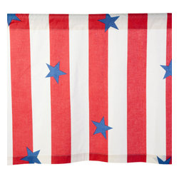 Sin in Linen - Stars and Stripes Valance - 35 x 19 Inches - Let the patriotic colors of freedom ring! This vintage looking star studded print is reminiscent of summers past