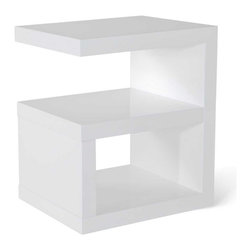 Zuri Furniture - Jayden High Gloss Modern Side Table - White - Finished in a high gloss coating, Jayden side table is modern svelte. This table is universal in that it can be used as a nightstand or pedestal anywhere in the home.