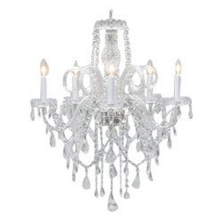 The Gallery - Authentic All-Crystal Chandelier - Looking to make a statement with your decor? Start with this exquisite chandelier. Adorned with crystals and scalloped bobeches, this light fixture brings elegance and sophistication to any room.