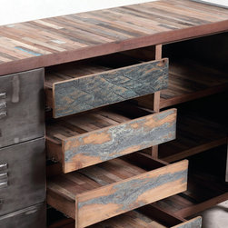 """Boat Wood Cabinet / Buffet / Sideboard (detail) - A 4 drawer, 6 door / shelf """"locker room style"""" cabinet made from salvaged / reclaimed boat wood.  This furniture has a rustic / modern / industrial look and is very well made."""