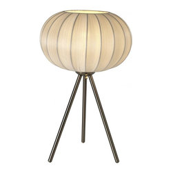 Joshua Marshal - One Light Brushed Nickel Sheer Gold Ribbon Shade Table Lamp - One Light Brushed Nickel Sheer Gold Ribbon Shade Table Lamp