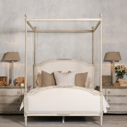 Dauphine Canopy Four-Poster Bed in Weathered White - Antique reproduction Dauphine Canopy Bed with elegant four-poster canopy frame. Hand-finished in distressed Weathered White and upholstered in White Linen. 10 yards to re-upholster. Also available as a bed without the canopy. King size available as well. Orderable with 12 week lead time.