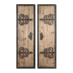 Uttermost - Abelardo Panels Set of 2 Distressed  Wood and Wrought Iron - The  Abelardo  Panels  features  a  set  of  two  oversized  decorative  wood  faux  doors  made  of  rustic  wood  with  a  light  honey  stain.  Wrought  iron  hinges  and  handles  complete  the  look  of  a  shuttered  window  just  waiting  to  be  opened  to  invite  sunlight  in.  You'll  love  the  look  of  the  aged  wood  against  the  distressed  iron  detail  metal.