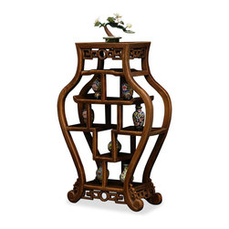 "China Furniture and Arts - Curio Display Shelves - Made of teakwood, this display curio stand contains six 4"" and one 7"" high shelves. Perfect for displaying your miniature treasures. Display accessories not included."