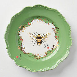 Lou Rota - Natural World Dessert Plate, Bee - This bumblebee plate reminds me of something my grandmother would have owned. The green and gold make a brilliant combination.