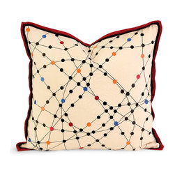 Imax - IK Xander Embroidered Linen Accent Pillow with Down Fill Suede Decor - IK Xander embroidered linen accent pillow with down fill suede decor Imax 42168