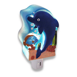 Children`s Blue Dolphin Night Light Nite Lite - This blue dolphin night light adds an adorable accent to your child`s room, while providing just enough light to ease their mind in the dark nighttime hours. Made of cold cast resin, it measures 4 1/4 inches tall, 3 1/4 inches wide, and 2 inches deep. It has a 360 degree swivel plug to accommodate any outlet, and it uses a 7 watt (max) type C night light style bulb (included). The light has an on/off switch on the front, and is recommended for children ages 6 and up.