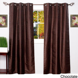 None - Thermal Blackout Grommet Top Curtain Panel Pair - Reduce energy costs and keep your home cool with these charming thermal blackout curtains. Available in several contemporary colors,these beautiful foam-backed faux silk curtains feature a grommet construction.