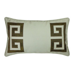"NECTARmodern - Parenthetikey (Brown) embroidered greek key lumbar throw pillow 20"" x 12"" - Sophisticated and minimal, an alternative take on the traditional Greek Key motif. Sage Brown poly linen with Brown applique and embroidery edge detail. Designer quality cover with overstuffed feather/down insert."