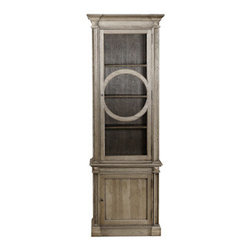 "Curations Limited - French O-Style Display Cabinet - The ""O-Style"" Display Cabinet from Curations Limited is a replication of a French original.  Built of solid oak with a well-weathered finish, the cabinet features a glass door for display above and a storage area with two shelves below.  Antique brass locks on each door secure the contents and add a touch of rustic elegance to this intriguing and unique display cabinet."
