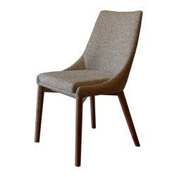 Gingko - Pascal Dining Chair, Mineral - Extremely comfortable dining chair upholstered in easy to clean fabric. Exposed Walnut Base, adds a rich quality to this simple, elegant design.  Great in a contemporary, mid-century, or transitional design setting.