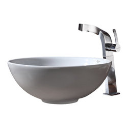 Kraus - Kraus C-KCV-141-15100CH White Round Ceramic Sink and Typhon Faucet - Add a touch of elegance to your bathroom with a ceramic sink combo from Kraus