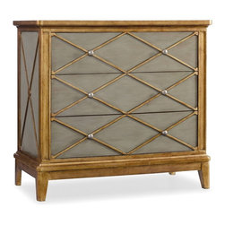 Hooker Furniture - Melange Paxton Chest - The soft, muted green finish of the Paxton Chest is accented by a crisp pattern in gold trim for an updated take on shimmering neutrals.  Three drawers.