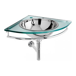WS Bath Collections - Circe Wall Hung Vanity with Glass Top - Circe 6561 Wall Hung Vanity with Glass Top, Bathroom Vanity Unit In Glass, Made in Italy