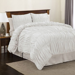 Lush Decor Venetian 3-piece White Comforter Set, Twin