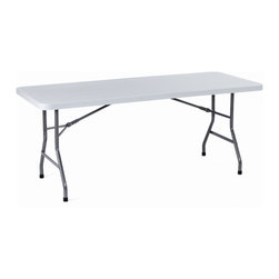 Boss Chairs - Boss Chairs Boss Molded 96 Inch Rectangular Folding Table - Plastic and steel construction provides strength, stability, and is very lightweight. Plastic molded table surface won't stain, chip, warp, or crack. Ergonomically designed handholds along edges for ease of handling. Leg locking mechanism holds legs closed during storage and transport. Surface color: Light grey. Leg color: Black paint.